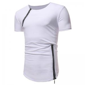 Men Fashion Personality Zipper Short Sleeve T-shirt -