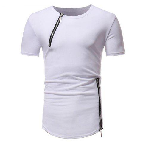 Unique Men Fashion Personality Zipper Short Sleeve T-shirt