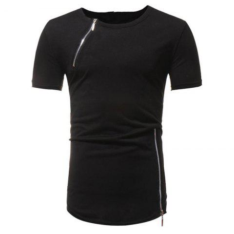 Sale Men Fashion Personality Zipper Short Sleeve T-shirt