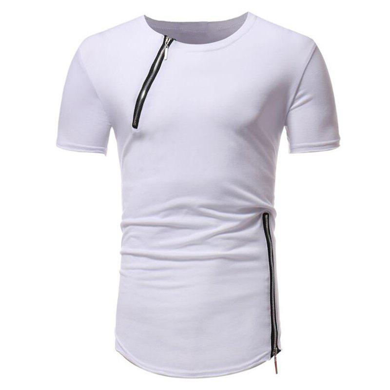 Fashion Men Fashion Personality Zipper Short Sleeve T-shirt