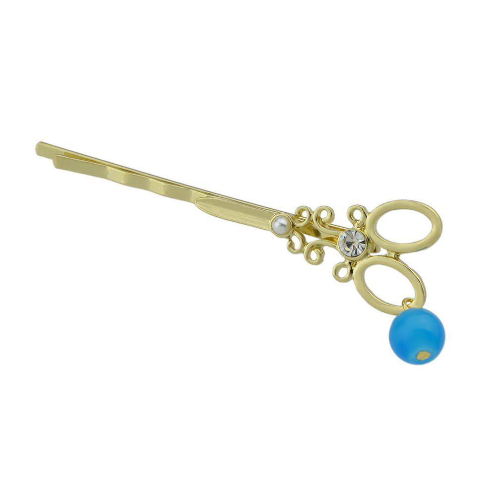 Fancy Gold-color Scissors Pattern Star Pink Blue Beads Barrettes