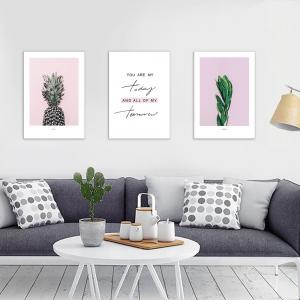 W346 Letters Pineapple Unframed Wall Canvas Prints for Home Decorations 3PCS -