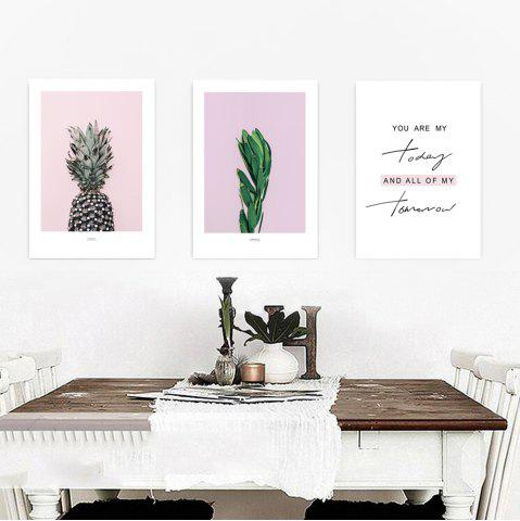 Outfits W346 Letters Pineapple Unframed Wall Canvas Prints for Home Decorations 3PCS