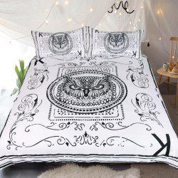 Owl Bedding  Animal Card Printed Duvet Cover Set 3pcs -