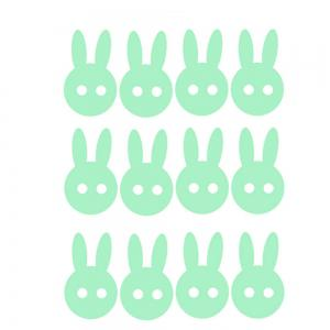 Noctilucent Gravure Autocollant Adorable Autocollant Lapin Cartoon -