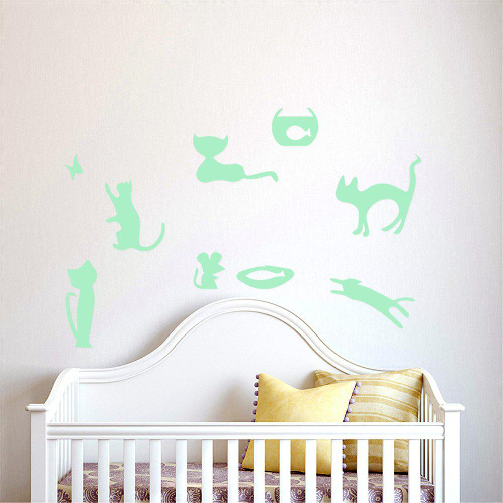 Outfit Noctilucent Engraving Adorable Naughty Cat Cartoon Switch Wall Sticker