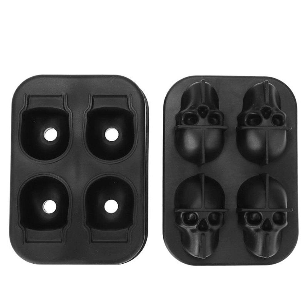 Shops 3D Skull Silicone Ice Cube Mold Chocolate Tray with Lid for Whiskey Wine Tool