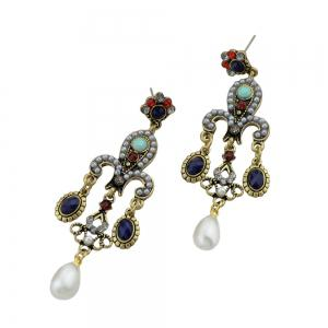 Palace Style Colorful Beads Dangle Earrings -
