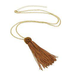 Long Chain with Tassel Chinese Knot Pendant Necklace -