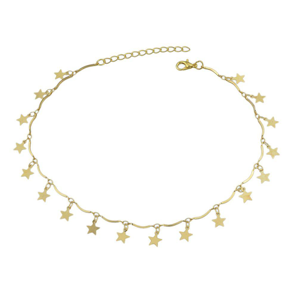 Fashion Gold-color Chain with Star Charms Choker Necklace