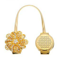 Flower Magnetic Curtain Buckle Rhinestones with Tie Back Straps -
