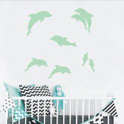 Noctilucent Engraving Adorable Dolphin Cartoon Switch Wall Sticker -