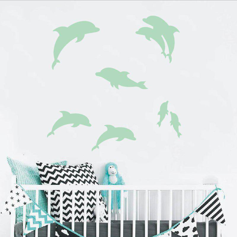 Noctilucent Engraving Adorable Dolphin Cartoon Switch Wall Sticker