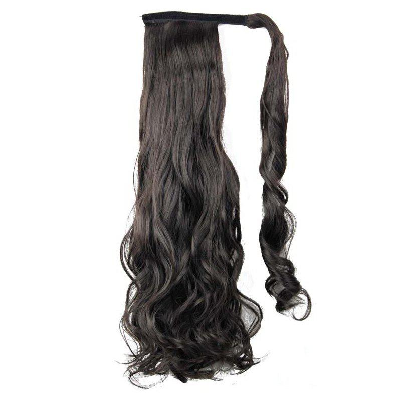 Deep Brown 24inch Synthetic Wrap Around Ponytail Hairpieces Long