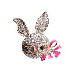 Women's Shiny Rhinestone Rabbit Brooch with Rosered Enamel Bow -