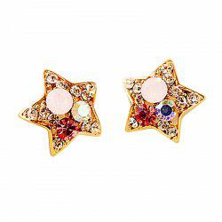 Fashion Dazzle Water Drill Five Angle Star Ear Nail Lovely Earrings -