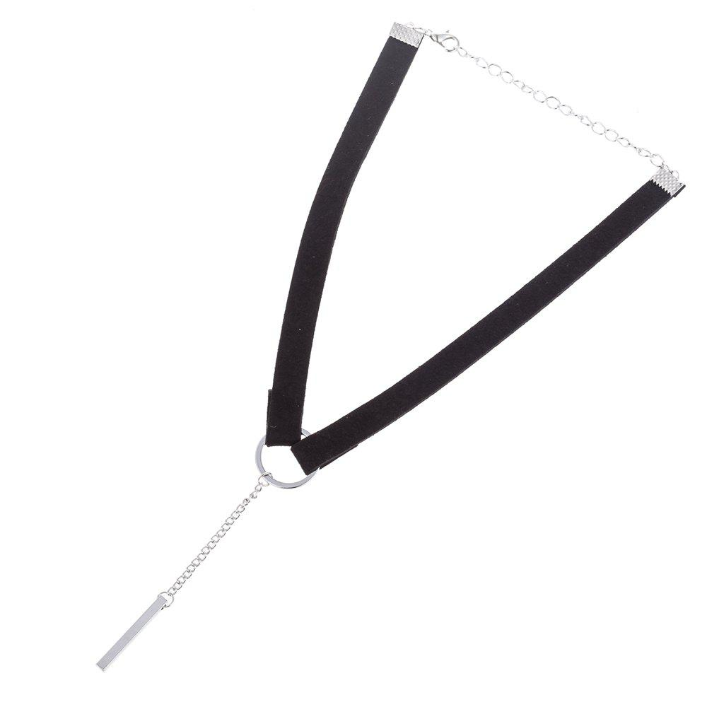 Affordable Classic Style Ring and Silver Metal Pendant Choker Necklaces