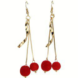 Spiral Bend Red Pompon Ball Earrings -
