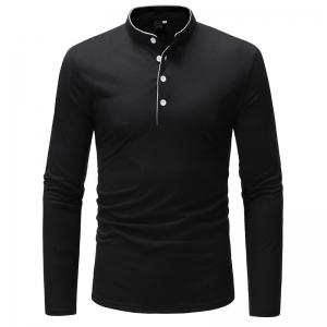 Classic Edging Simple Solid Casual Slim Long-Sleeved Collar T-Shirt -