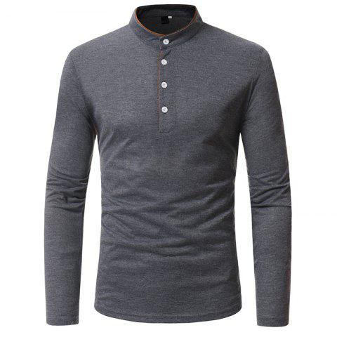 New Classic Edging Simple Solid Casual Slim Long-Sleeved Collar T-Shirt