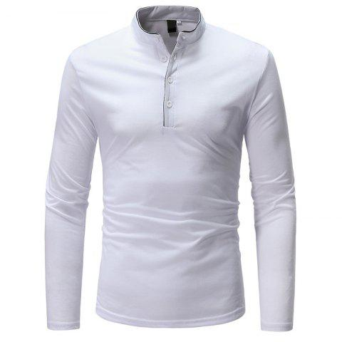 Latest Classic Edging Simple Solid Casual Slim Long-Sleeved Collar T-Shirt