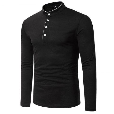 Fashion Classic Edging Simple Solid Casual Slim Long-Sleeved Collar T-Shirt