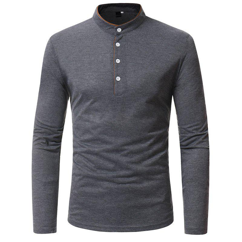 Store Classic Edging Simple Solid Casual Slim Long-Sleeved Collar T-Shirt