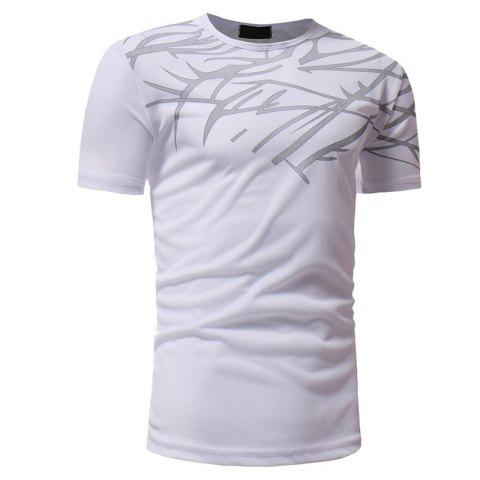 Fashion Mesh Print Casual Slim Short-Sleeve T-Shirt