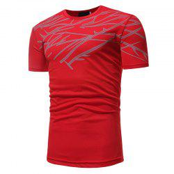 Mesh Print Casual Slim Short-Sleeve T-Shirt -