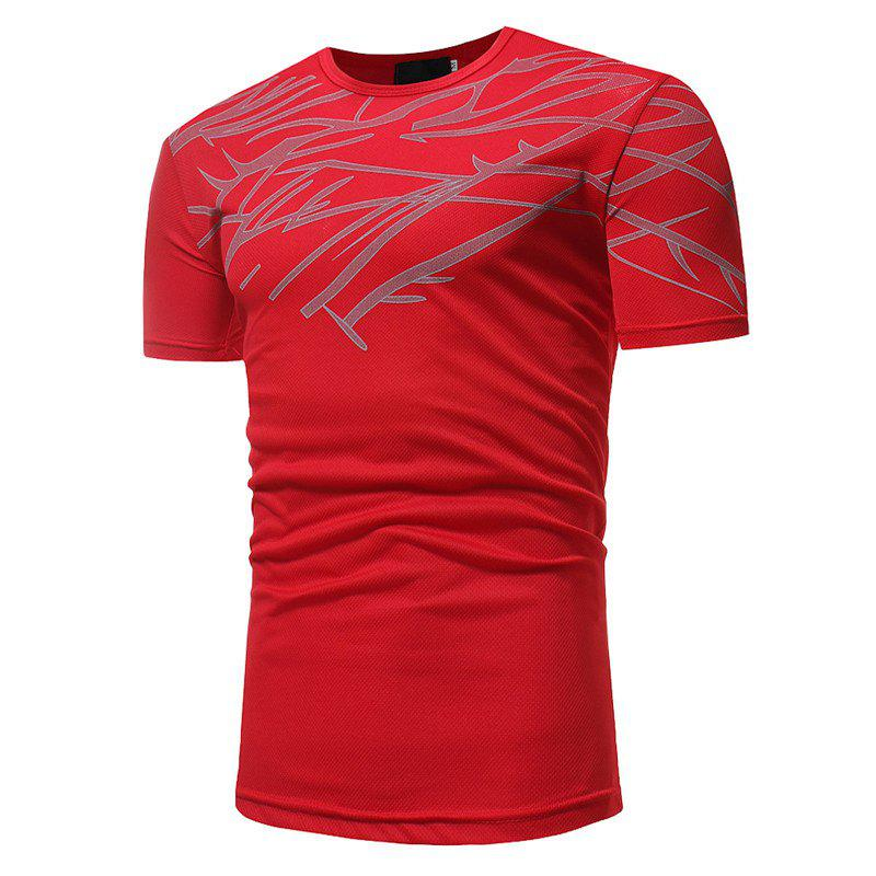 New Mesh Print Casual Slim Short-Sleeve T-Shirt