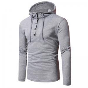 Personality Button Casual Hooded Slim Long-Sleeved Hoodie -