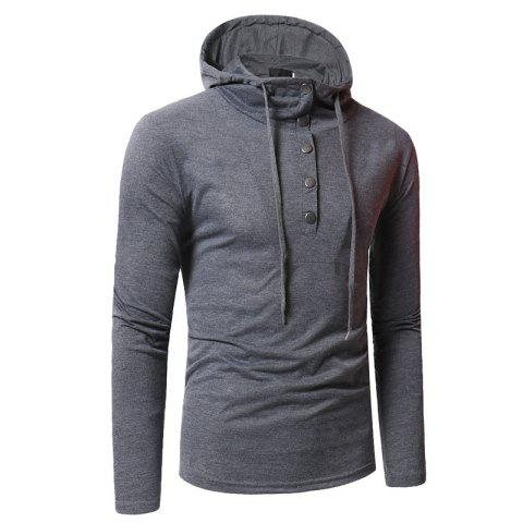Discount Personality Button Casual Hooded Slim Long-Sleeved Hoodie