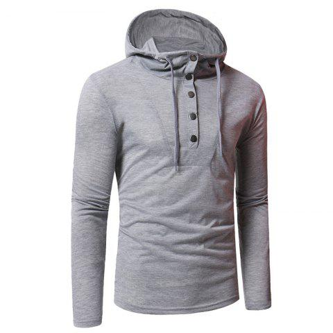 Unique Personality Button Casual Hooded Slim Long-Sleeved Hoodie