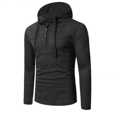 Shops Personality Button Casual Hooded Slim Long-Sleeved Hoodie