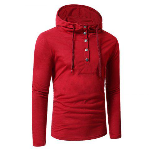 Online Personality Button Casual Hooded Slim Long-Sleeved Hoodie