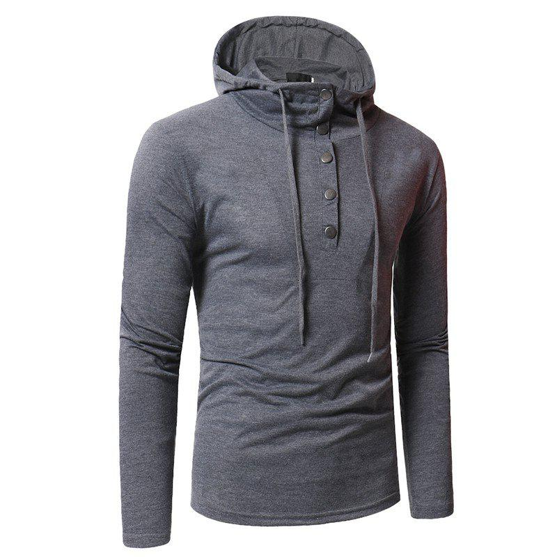 Hot Personality Button Casual Hooded Slim Long-Sleeved Hoodie
