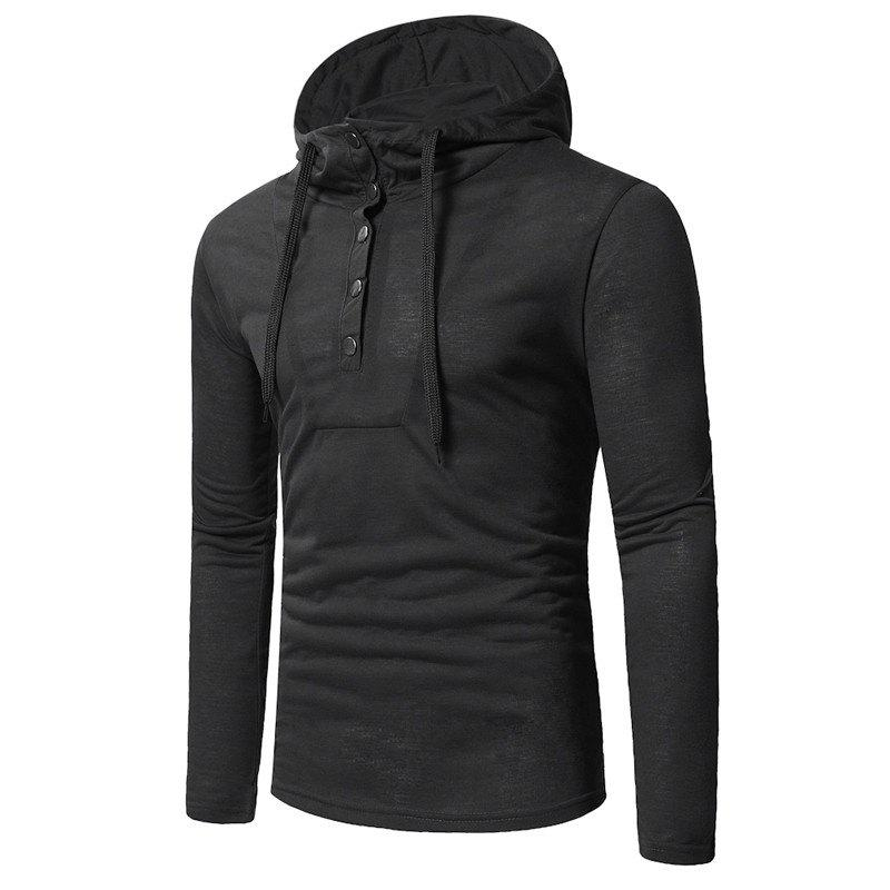 Buy Personality Button Casual Hooded Slim Long-Sleeved Hoodie