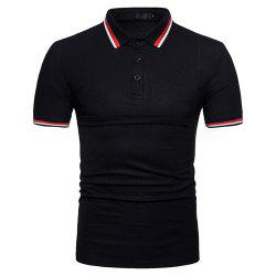 New Men's Fashion Stitching Large Size Short-Sleeved Polo Shirt -