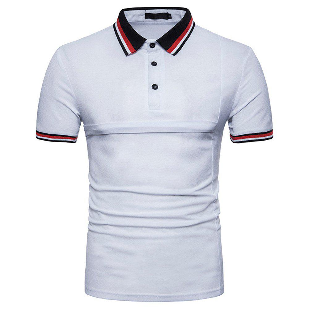 Outfits New Men's Fashion Stitching Large Size Short-Sleeved Polo Shirt