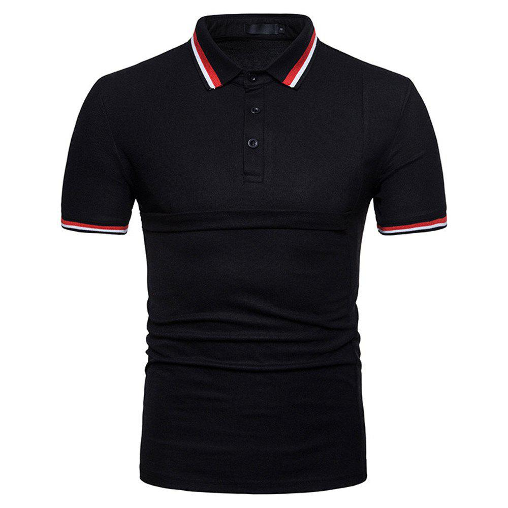 Hot New Men's Fashion Stitching Large Size Short-Sleeved Polo Shirt