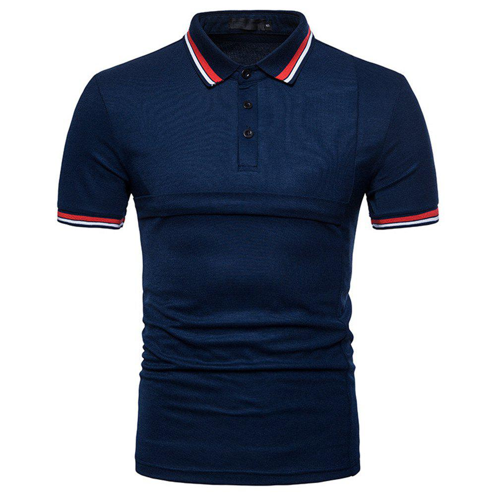 Cheap New Men's Fashion Stitching Large Size Short-Sleeved Polo Shirt