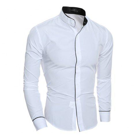 Shops New Personality Striped Casual Collar Men's Slim Long-Sleeved Shirt