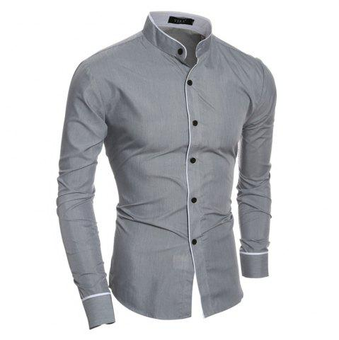 Online New Personality Striped Casual Collar Men's Slim Long-Sleeved Shirt