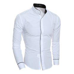 New Personality Striped Casual Collar Men's Slim Long-Sleeved Shirt -