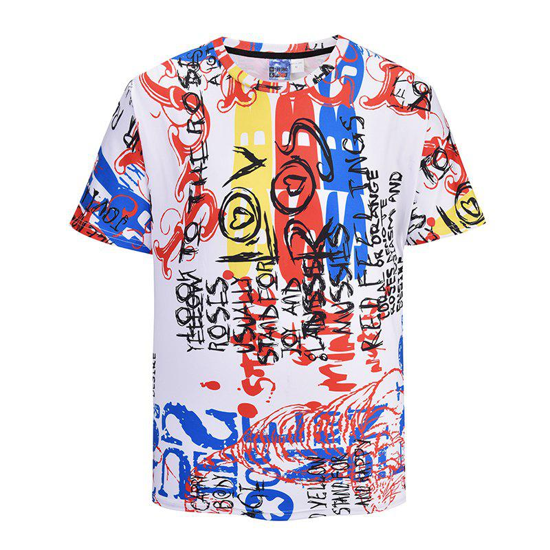 Best Men's Casual 3D Print Graffiti Letter Short Sleeves T-shirt