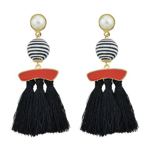 Outfits Bead with Colorful Enamel Tassel Statement Earrings