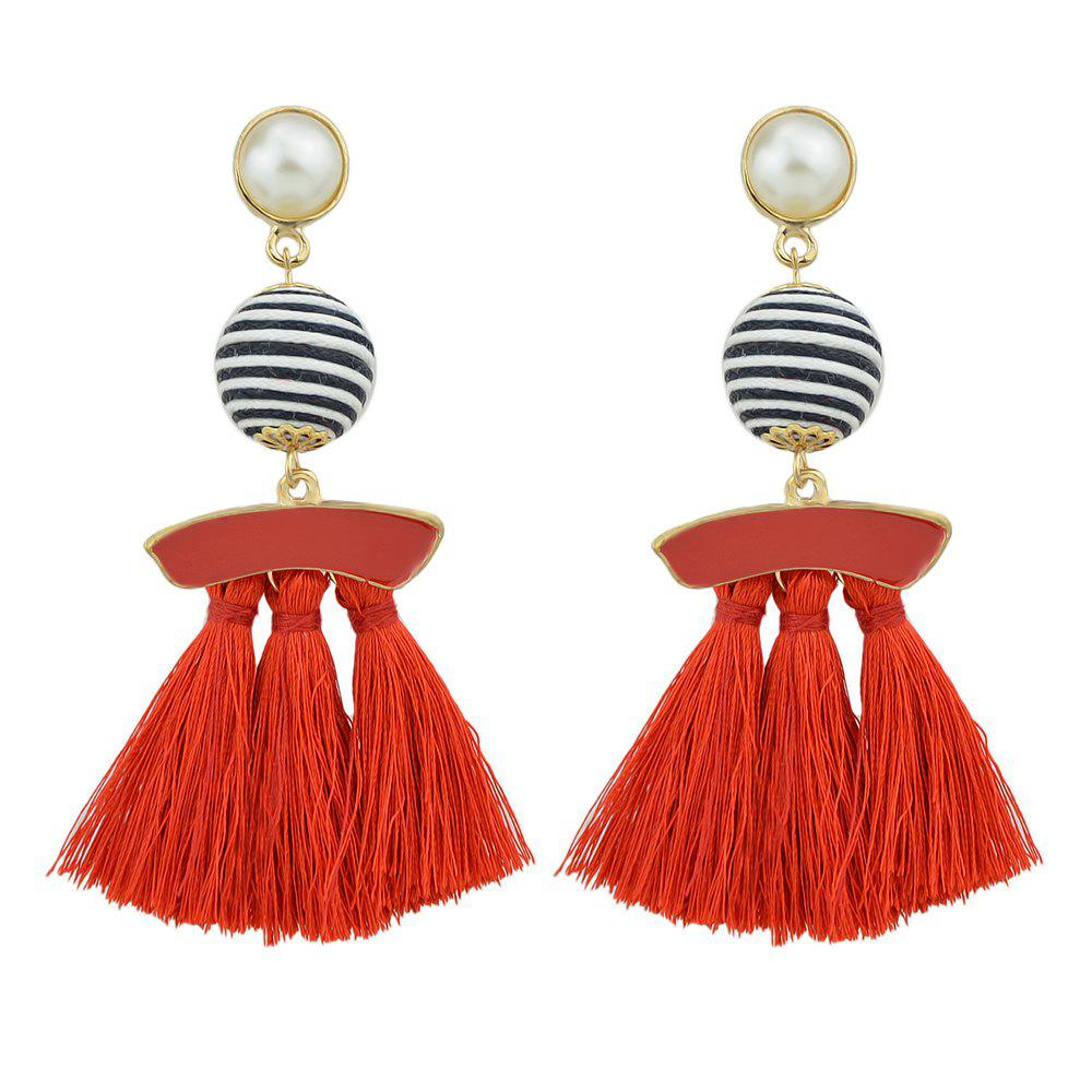 Shops Bead with Colorful Enamel Tassel Statement Earrings