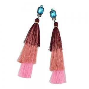 Colorful Multi Layer Long Tassel Big Earrings -