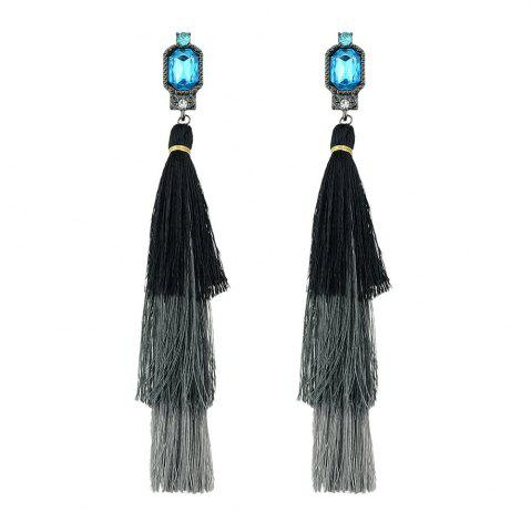 Trendy Colorful Multi Layer Long Tassel Big Earrings