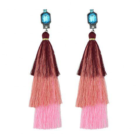 Sale Colorful Multi Layer Long Tassel Big Earrings